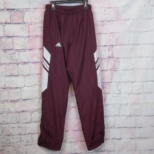Adidas track pants small burgundy team performance